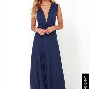 Navy blue maxi wrap dress